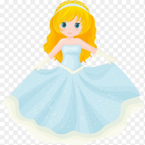 Cute little princess on transparent background PNG