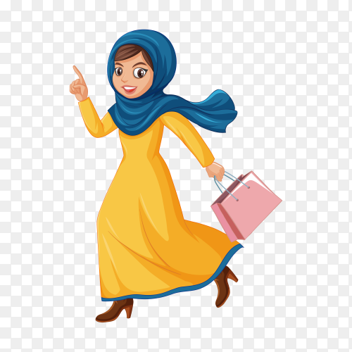 Cute Muslim girl character on transparent background PNG