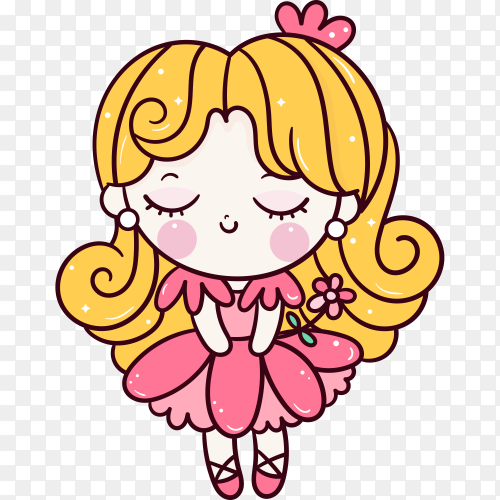 Cute princess cartoon with flower on transparent background PNG