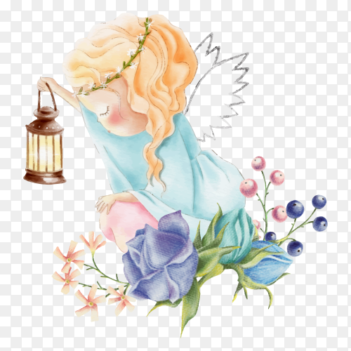 Cute watercolor angel girl with light and rose flowers on transparent background PNG