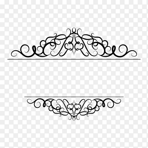 Decoration design elements with page decor and crown isolated on transparent background PNG