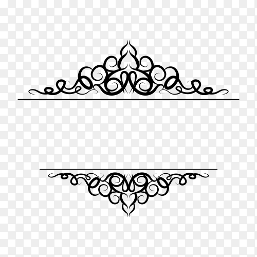 Decoration design elements with page decor and crown isolated premium vector PNG