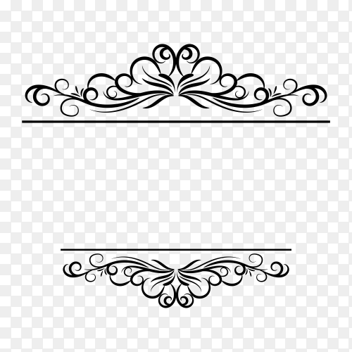 Decoration design elements with page decor and crown on transparent PNG