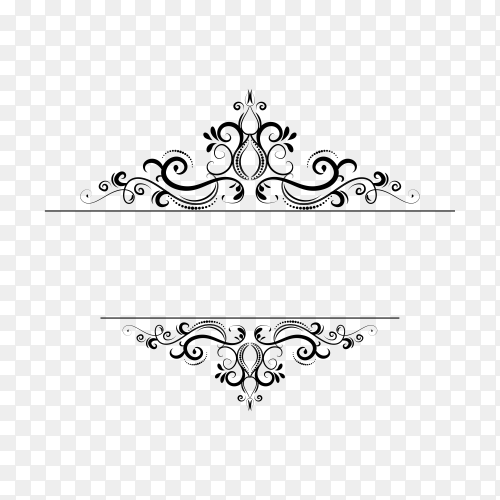 Decoration design elements with page decor and crown on transparent background PNG
