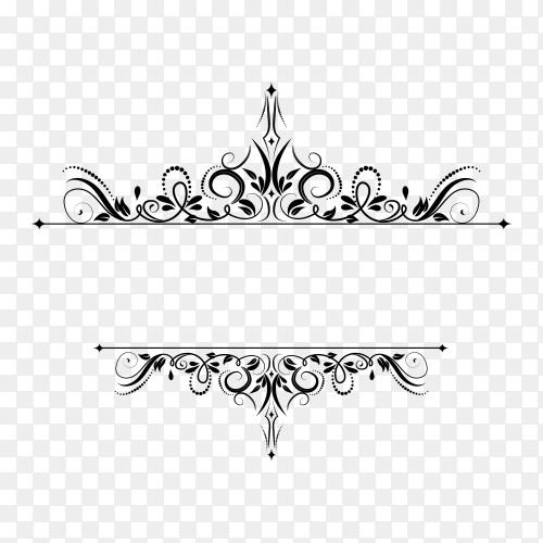 Decoration design elements with page decor and crown premium vector PNG