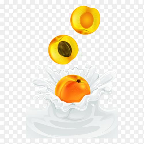 Delicious Peach in milk splash on transparent background PNG
