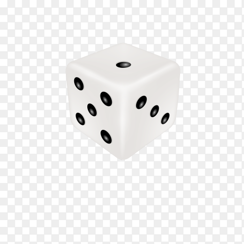 Dice isolated 3d objects of gambling games on transparent background PNG