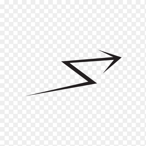 Doodle arrow sign icon isolated on transparent PNG