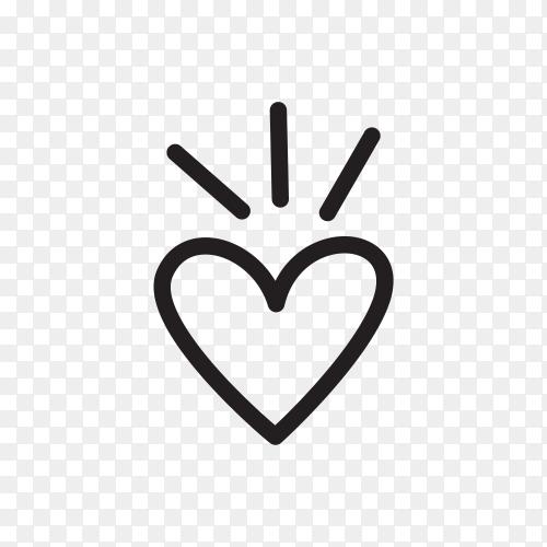 Doodle heart shaped arrow on transparent PNG