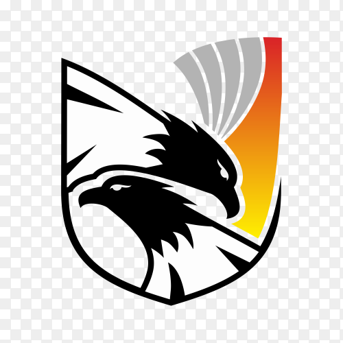 Eagle and shield logo template on transparent background PNG