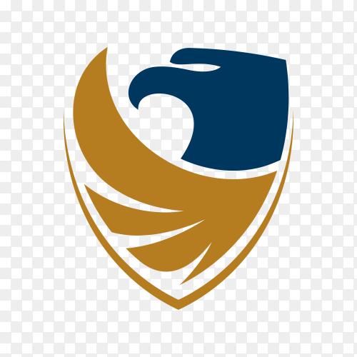 Eagle shield logo design template on transparent background PNG