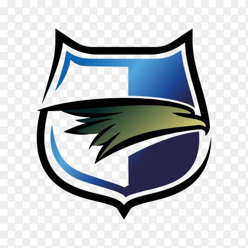 Eagle shield logo design. eagle head. eagle badge icon on transparent background PNG