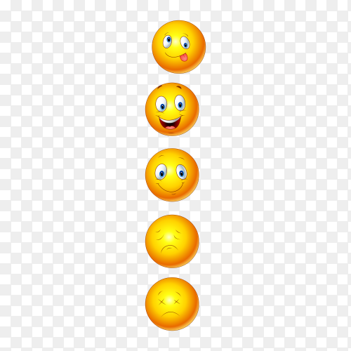 Emojis face icons on transparent background PNG