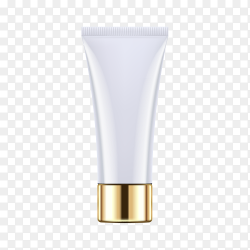 Empty and clean tube with cap for cosmetic cream or body lotion on transparent background PNG