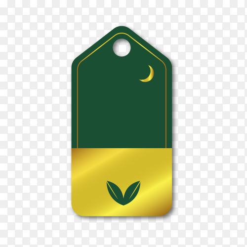 Empty label design in golden style on transparent PNG