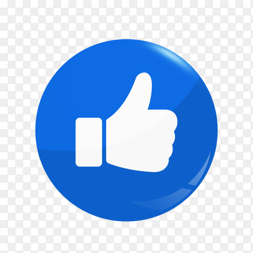Facebook Like icon design isolated on transparent background PNG