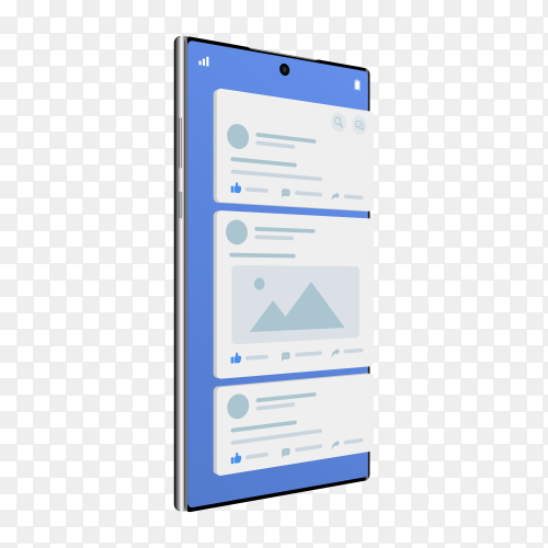 Facebook application on mobile connecting online for communication around the world  on transparent background PNG
