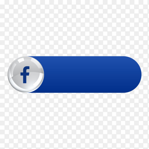 Facebook icon in banner lower third on transparent background PNG