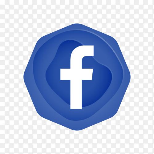 Facebook logo design on transparent background PNG