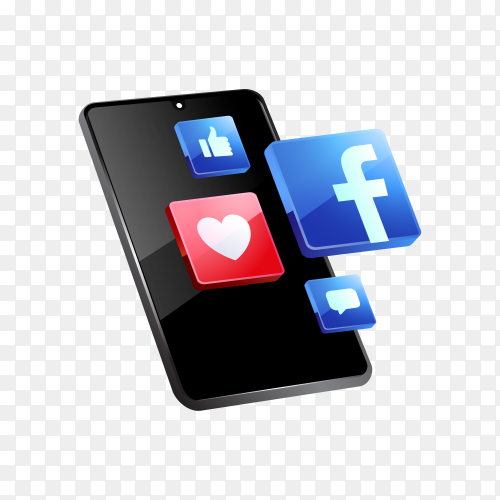 Facebook social media icons with smartphone symbol on transparent background PNG