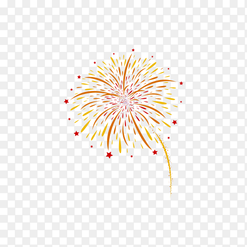 Firework and stars isolated on transparent background PNG
