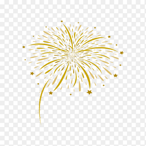 Fireworks and stars on transparent background PNG