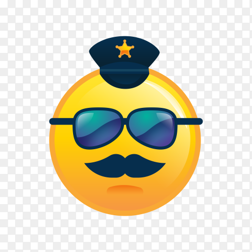 Flat design emoji face with sunglasses on transparent background PNG