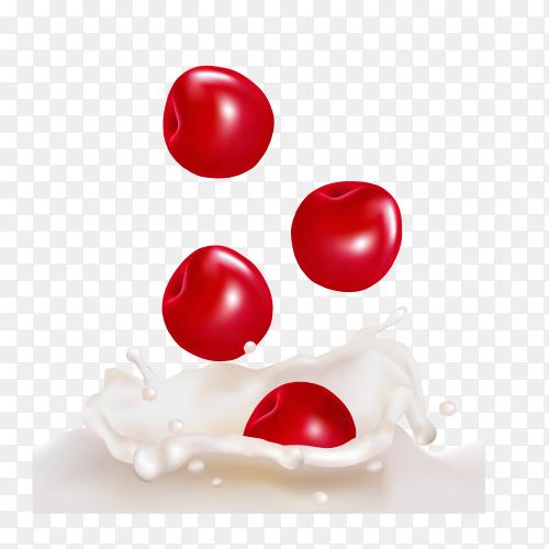 Fresh cherry Dropping into milk splash on transparent background PNG