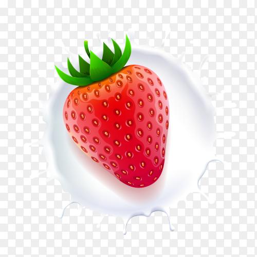 Fresh strawberry in milk splash on transparent background PNG