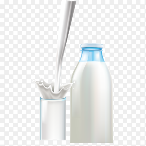 Glass and bottle on milk on transparent background PNG