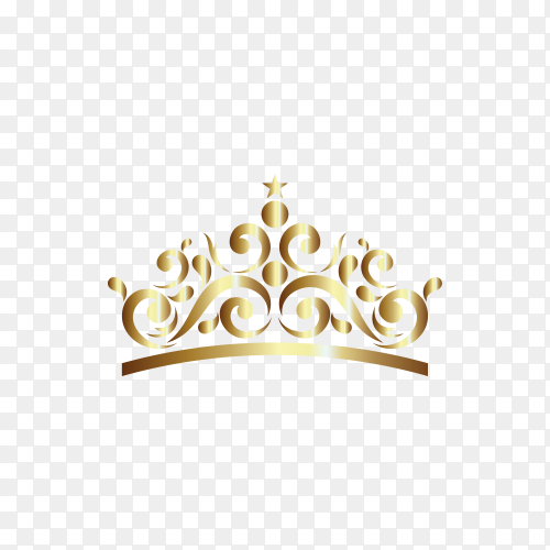 Gold Ornament In Crown Shaped isolated on transparent background PNG