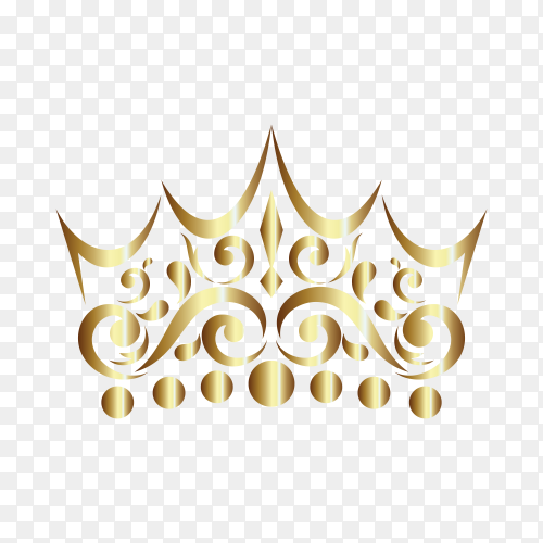 Gold Ornament In Crown Shaped on transparent background PNG