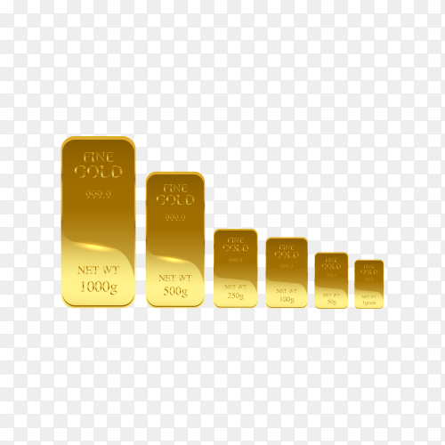 Gold bank bars premium vector PNG