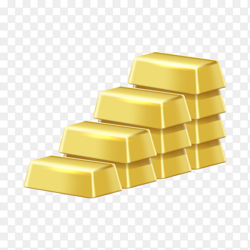 Gold bars, golden bricks, yellow precious metal bullion blocks of highest standard on transparent background PNG