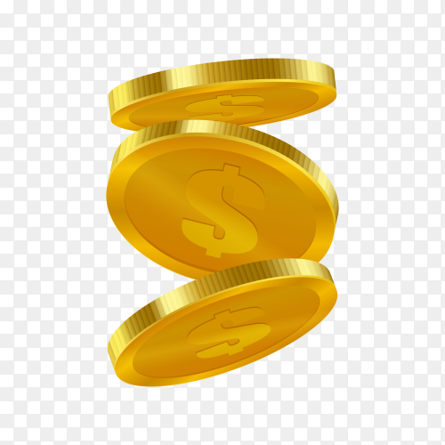 Gold coins falling on transparent background PNG