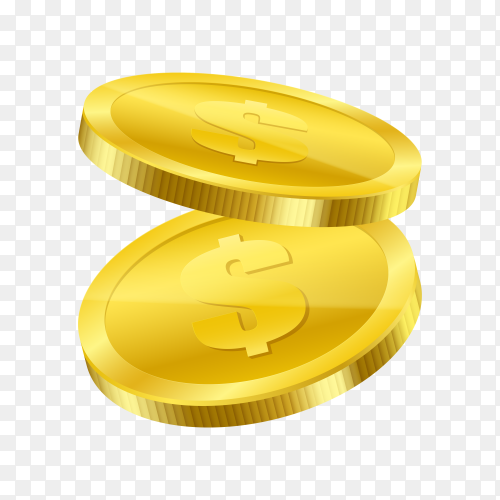 Gold coins illustration on transparent PNG
