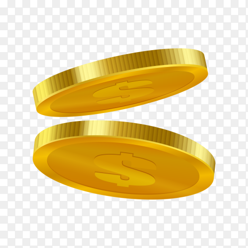 Gold coins isolated on transparent background PNG