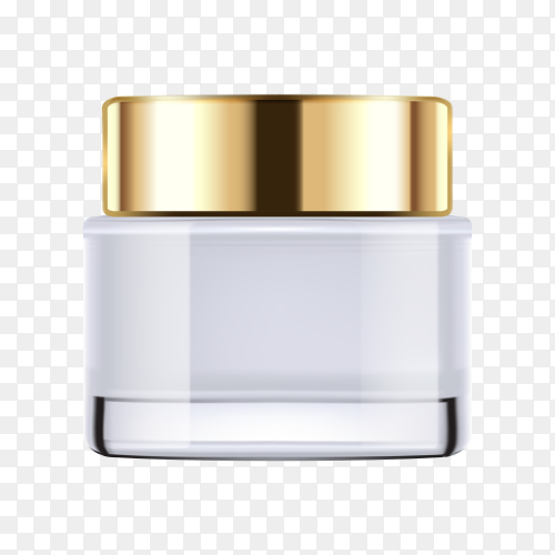 Gold cosmetic bottle on transparent PNG