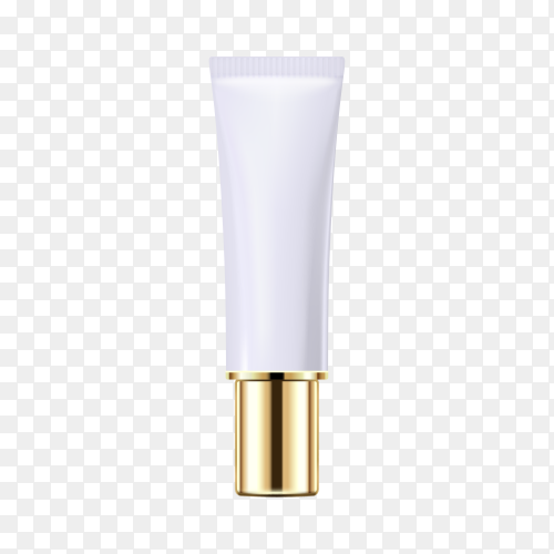 Gold cosmetic bottle on transparent background PNG