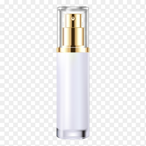Gold cosmetic spray bottle on transparent background PNG