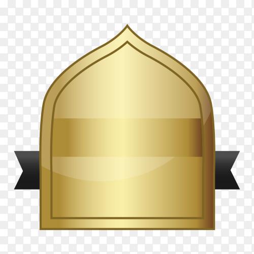 Gold empty frame label on transparent background PNG