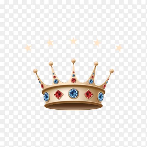 Golden king crown on transparent background PNG