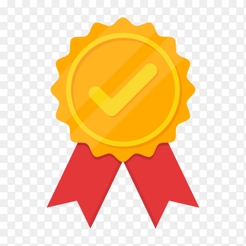Golden medal with tick icon in a flat design on transparent background PNG