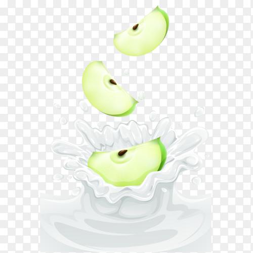 Green apple in milk splash on transparent background PNG