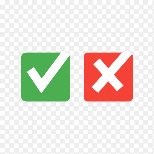 Green check mark and red cross on transparent background PNG