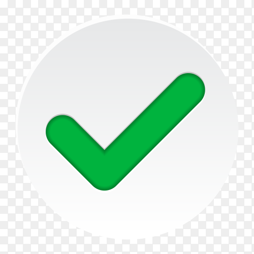 Green check mark icon. Tick symbol in green color on transparent background PNG
