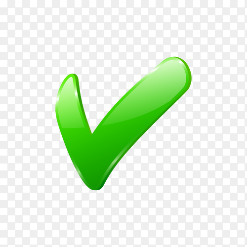 Green check mark icon on transparent background PNG