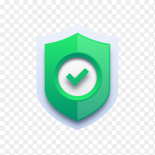 Green check mark on shield on transparent background PNG