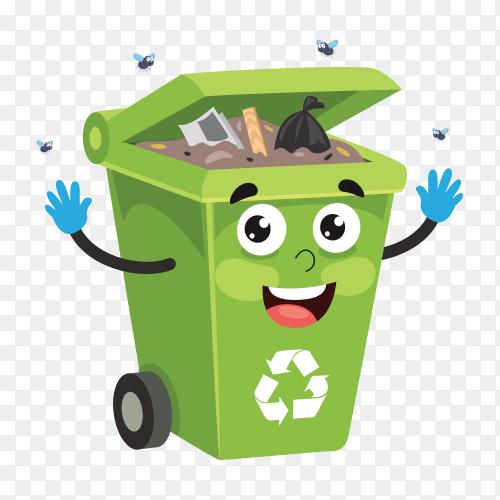 Green trash bin on transparent background PNG