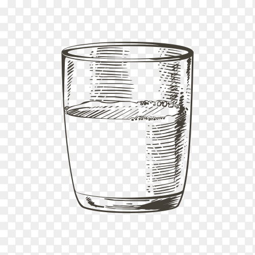 Hand drawn Glass cup of milk on transparent background PNG
